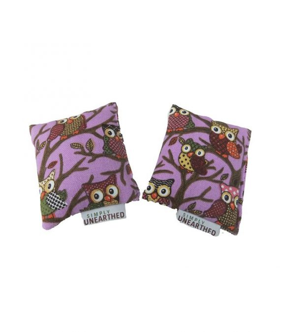 Microwavable Hand Warmers Pair - Violet Owl